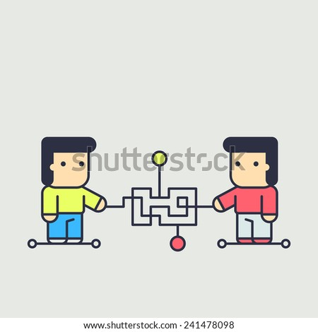 characters creates a logical chain and looking for an answer. abstract conceptual illustration. - stock vector
