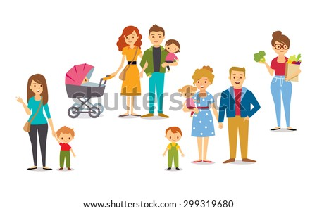 characters of people with kids - stock vector