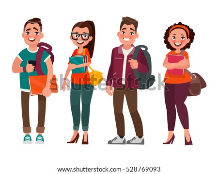 Characters of students on a white background. Vector illustration in cartoon style