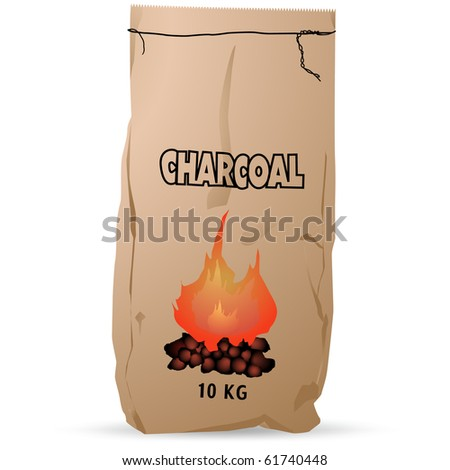 Charcoal paper bag vector isolated on white - stock vector