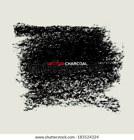 Charcoal texture banner. Vector design elements. - stock vector