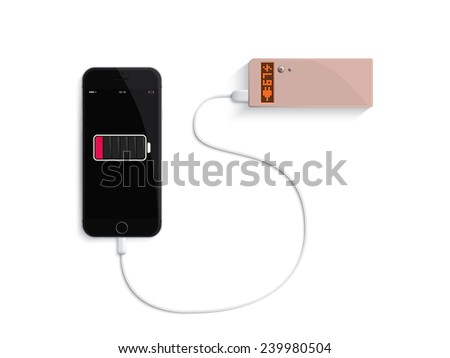Charge your phone by power bank on white background
