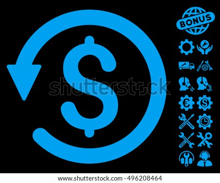 Chargeback pictograph with bonus tools pictogram. Vector illustration style is flat iconic symbols, blue color, black background.