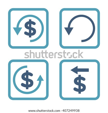 Chargeback vector bicolor icon. Image style is a flat icon symbol inside a square rounded frame, cyan and blue colors, white background. - stock vector