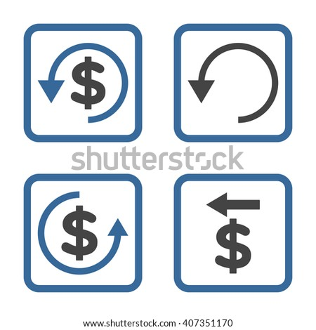 Chargeback vector bicolor icon. Image style is a flat icon symbol inside a square rounded frame, cobalt and gray colors, white background. - stock vector