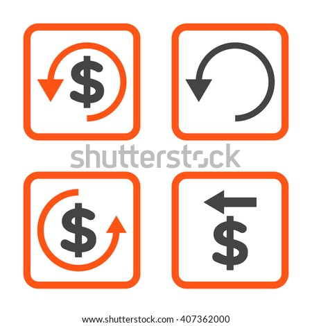 Chargeback vector bicolor icon. Image style is a flat icon symbol inside a square rounded frame, orange and gray colors, white background. - stock vector