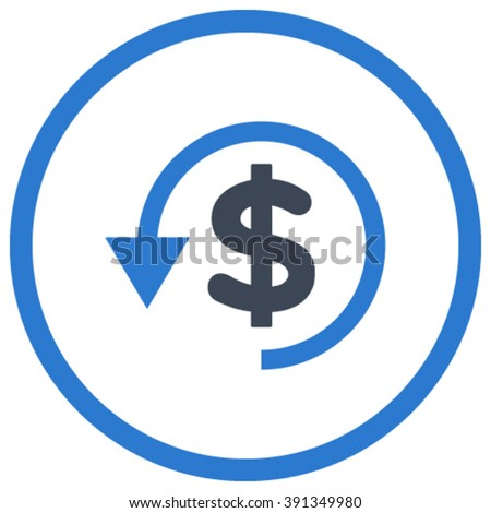 Chargeback vector icon. Style is bicolor flat rounded iconic symbol, chargeback icon is drawn with smooth blue colors on a white background. - stock vector