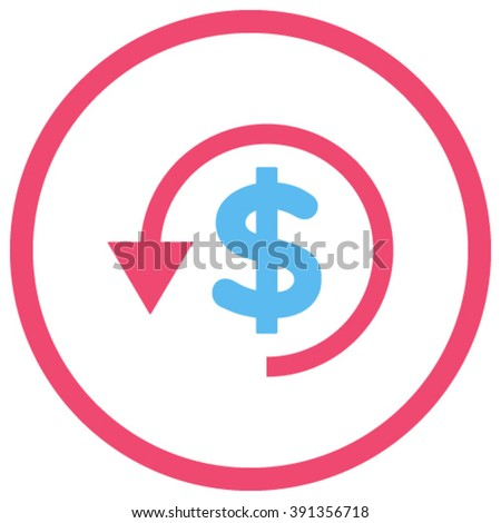 Chargeback vector icon. Style is bicolor flat rounded iconic symbol, chargeback icon is drawn with pink and blue colors on a white background. - stock vector
