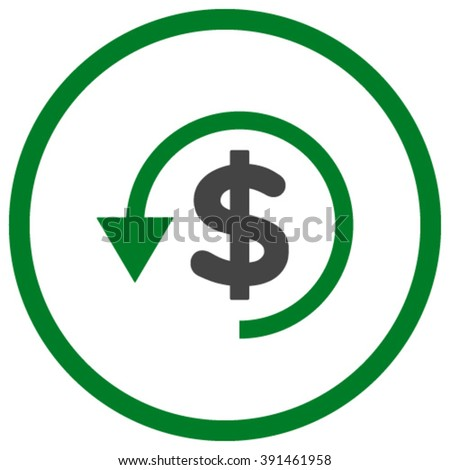 Chargeback vector icon. Style is bicolor flat rounded iconic symbol, chargeback icon is drawn with green and gray colors on a white background. - stock vector