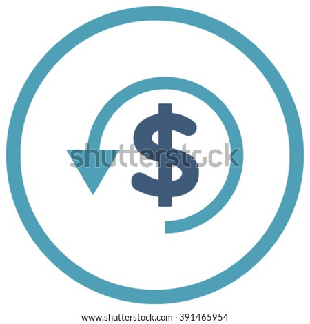 Chargeback vector icon. Style is bicolor flat rounded iconic symbol, chargeback icon is drawn with cyan and blue colors on a white background. - stock vector