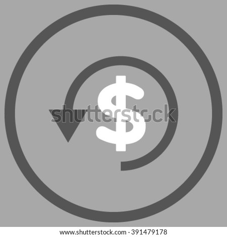 Chargeback vector icon. Style is bicolor flat rounded iconic symbol, chargeback icon is drawn with dark gray and white colors on a silver background. - stock vector