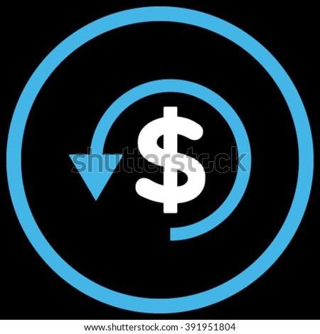 Chargeback vector icon. Style is bicolor flat rounded iconic symbol, chargeback icon is drawn with blue and white colors on a black background. - stock vector