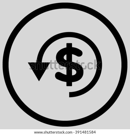 Chargeback vector icon. Style is flat rounded iconic symbol, chargeback icon is drawn with black color on a light gray background. - stock vector