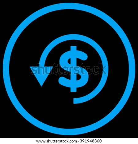Chargeback vector icon. Style is flat rounded iconic symbol, chargeback icon is drawn with blue color on a black background. - stock vector