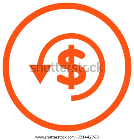 Chargeback vector icon. Style is flat rounded iconic symbol, chargeback icon is drawn with orange color on a white background. - stock vector