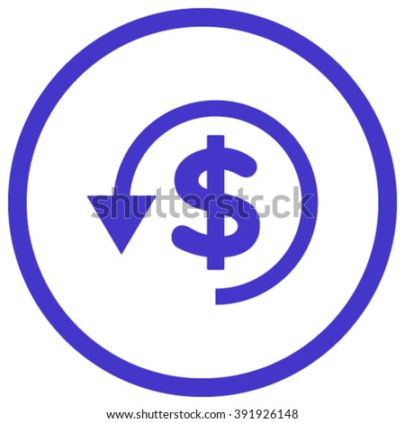 Chargeback vector icon. Style is flat rounded iconic symbol, chargeback icon is drawn with violet color on a white background. - stock vector