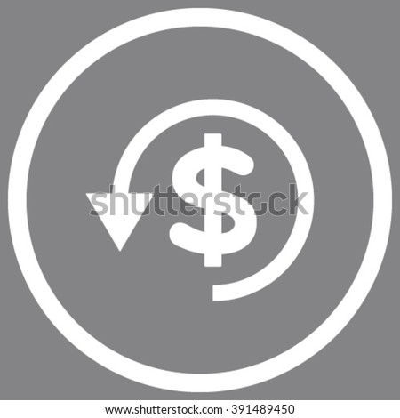 Chargeback vector icon. Style is flat rounded iconic symbol, chargeback icon is drawn with white color on a gray background. - stock vector
