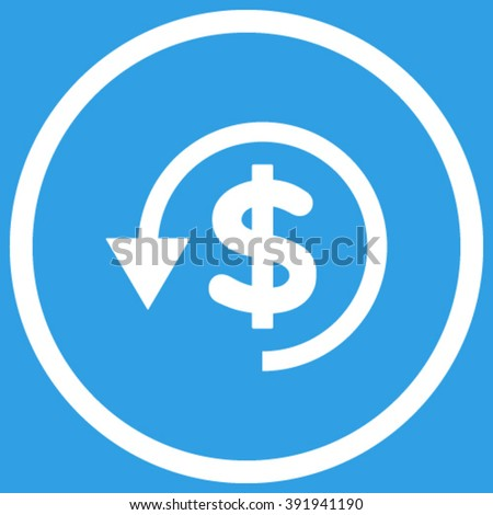 Chargeback vector icon. Style is flat rounded iconic symbol, chargeback icon is drawn with white color on a blue background. - stock vector