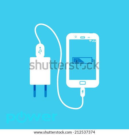 charger for your phone, flat icons isolated on a blue background - stock vector