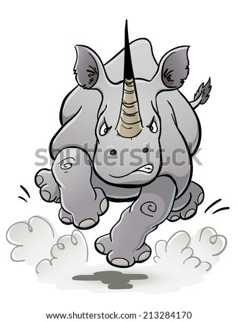 Charging Rhino - stock vector
