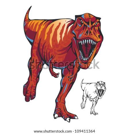 Charging T-Rex - stock vector