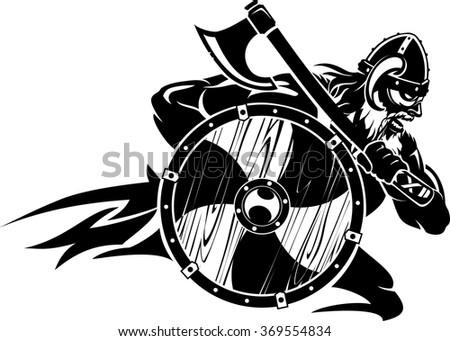 Charging Viking Warrior - stock vector