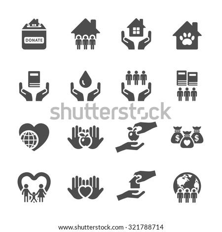 charity and donation icon set 2, vector eps10 - stock vector