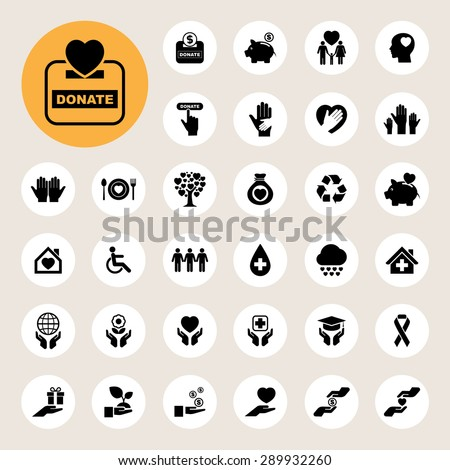 Charity and donation icons set. Illustration eps10 - stock vector