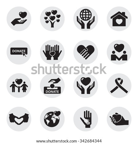 Charity and love icons - stock vector