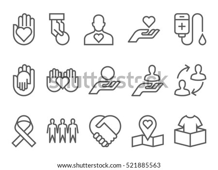 Charity Donation And Volunteer Work Concept Icons Thin Line Style Flat Design