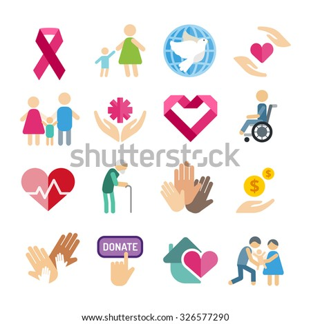 Charity flat icons set. Charity vector logo icons. Charity silhouette isolated. Charity, abstract hands logo, heart logo, old people care logo, child logo, care logo, togetherness concept, family logo - stock vector