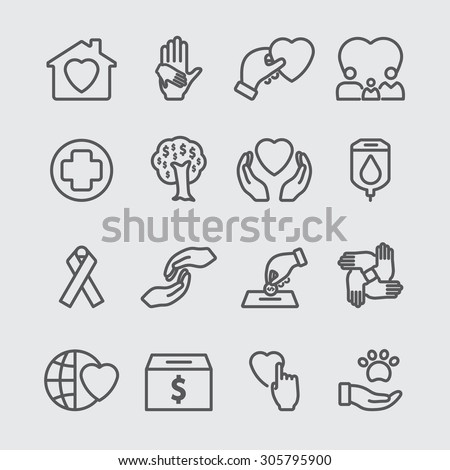 Charity line icon - stock vector