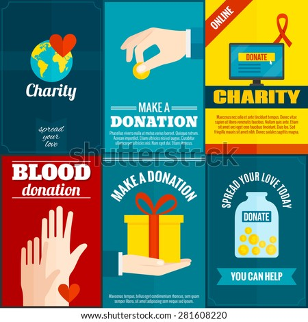 Charity mini posters set with money and blood donation flat isolated vector illustration  - stock vector