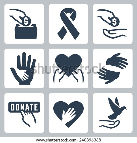 Charity related vector icon set - stock vector