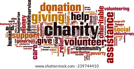 Charity word cloud concept. Vector illustration - stock vector