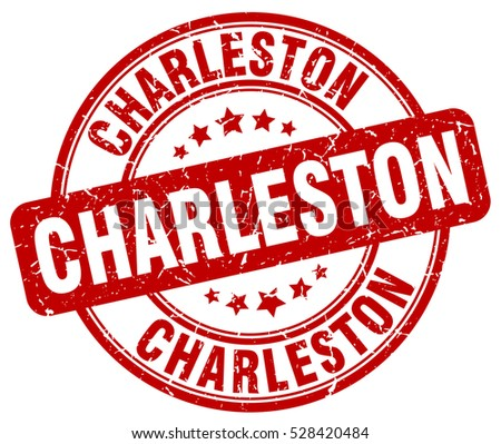Charleston. stamp. red round grunge vintage Charleston sign