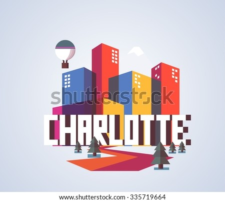 Charlotte city in colorful poster design. - stock vector