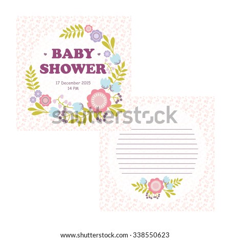 charming baby arrival card invitation or girl baby shower card template vector