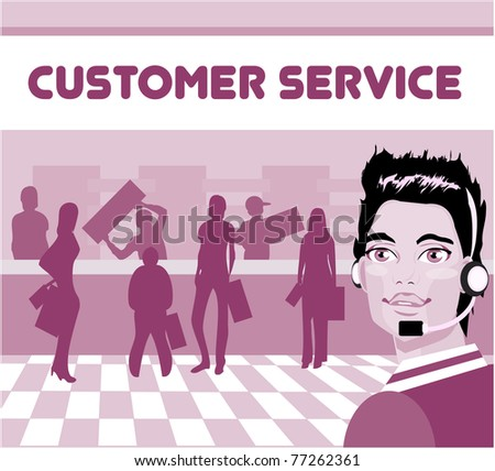 Charming customer service representative with headset on,  group of customers. operator talking on headset, smiling - stock vector