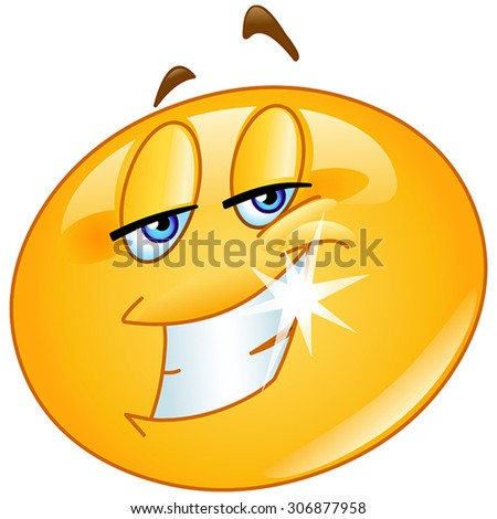 Charming emoticon with twinkle smile - stock vector