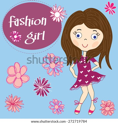 charming fashion girl with flowers vector illustration - stock vector