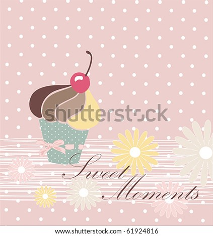 Charming Pattern With Cupcake - stock vector