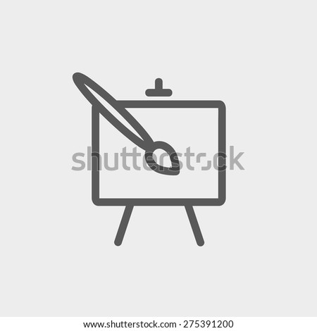 Chart and a paint brush icon thin line for web and mobile, modern minimalistic flat design. Vector dark grey icon on light grey background. - stock vector