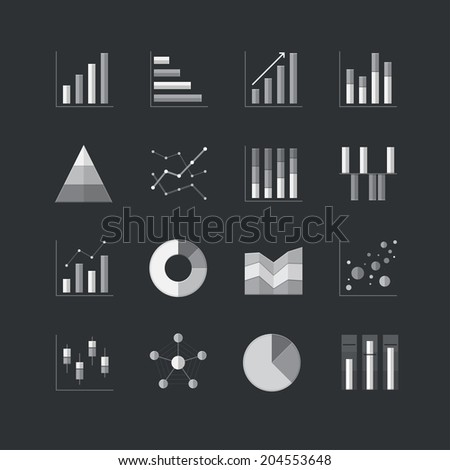 Chart and Graph flat style icons in gray color - Vector Illustration - stock vector