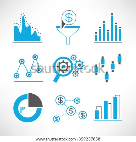 chart and graph icons, data analytics and network icons - stock vector