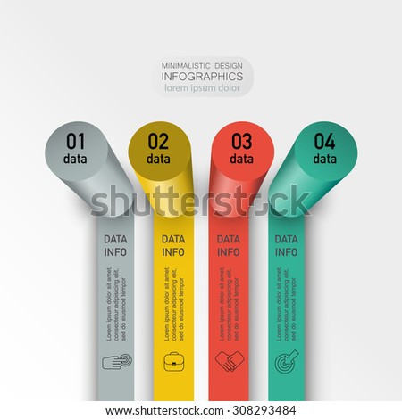 chart columns with your data step by step to achieve the target business infographic element presentation - stock vector