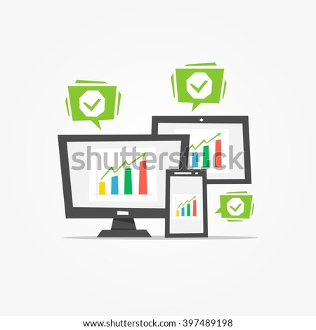 Chart (diagram) on different devices (desktop, tablet, phone) vector illustration. Creative concept.