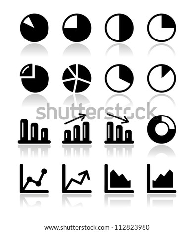 Chart graph black icons set for infographics - stock vector