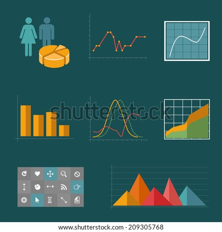 Chart graph icons set for infographics. Business - stock vector