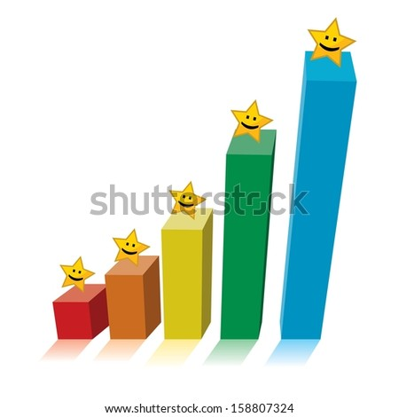 chart graph with smiling yellow stars on top of colorful bars, business growth concept - stock vector